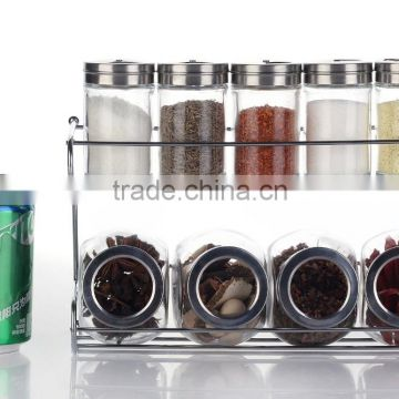 Set 10 Clear Glass Spice Jars with Metal Stand