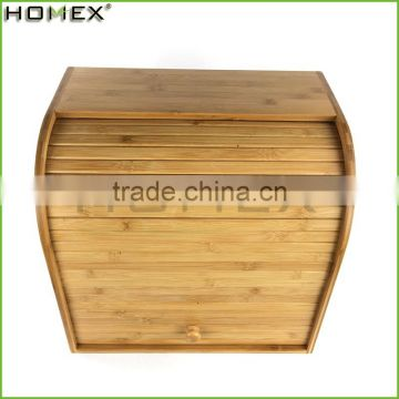 Bamboo kitchen vintage bread box Homex-BSCI
