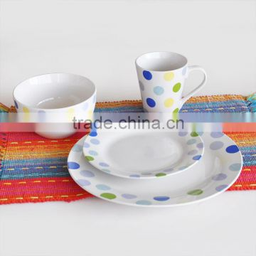 16pcs porcelain dinnerware set with decal,ceramic dinner set with 4C printing
