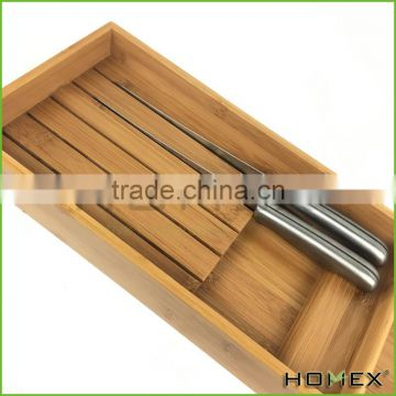 Bamboo steak knives storage tray knife sets holder Homex BSCI/Factory