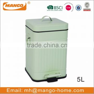 Square Ribs Pattern Step Galvanized Steel Metal Trash Can