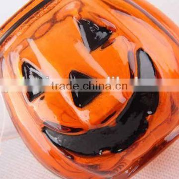 Portable pumpkin shaped glass candle holder