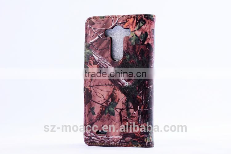Tree lines pu leather wallet case for lg g3