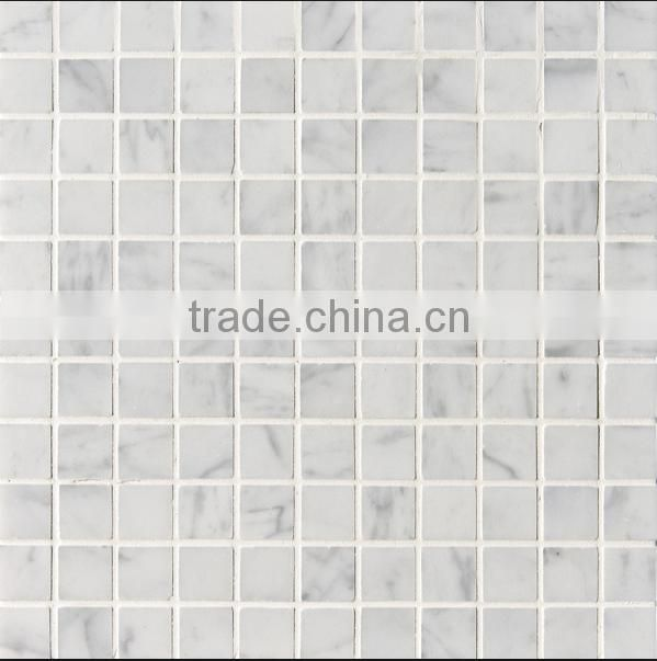 carrara white 12in.x12in. polished square mosaic floor/ wall tile