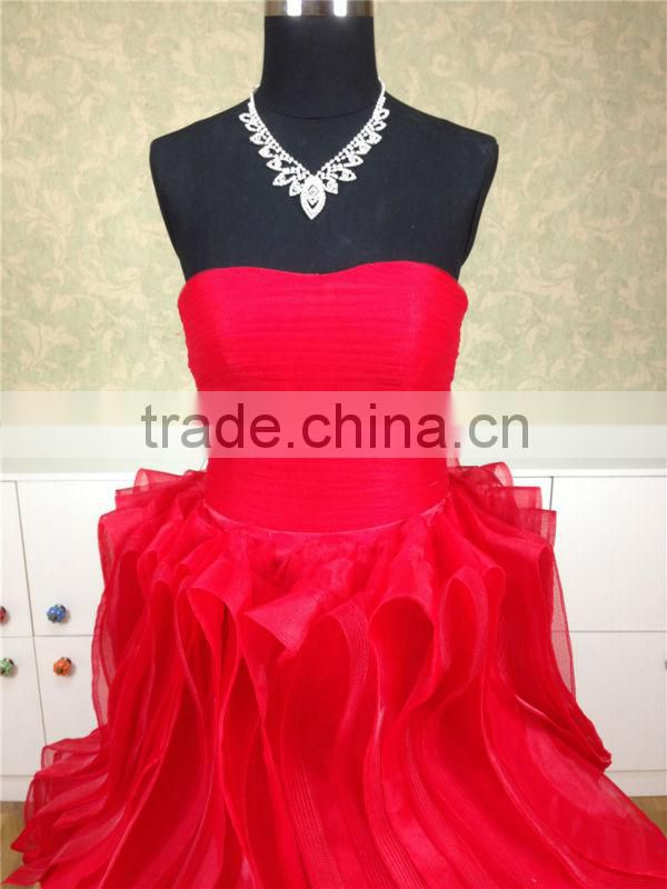 2015 new arrival red scoop neckline ruffle sweep train long chiffon evening dress