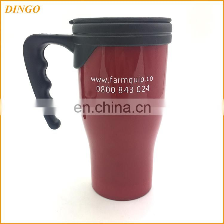 2017 new design travel coffee mug with silicone sleeve and plastic lid