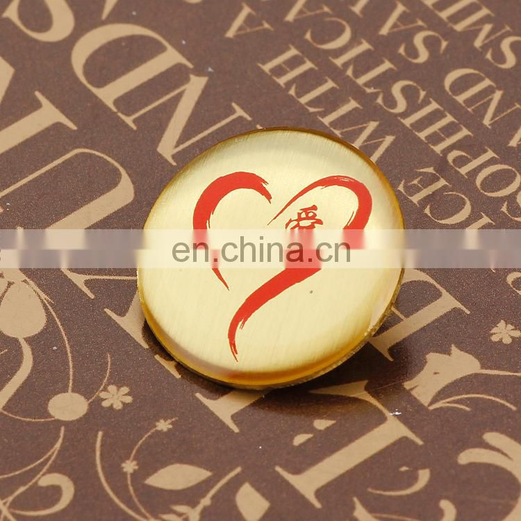custom gold round metal pin badges with epoxy printed logo