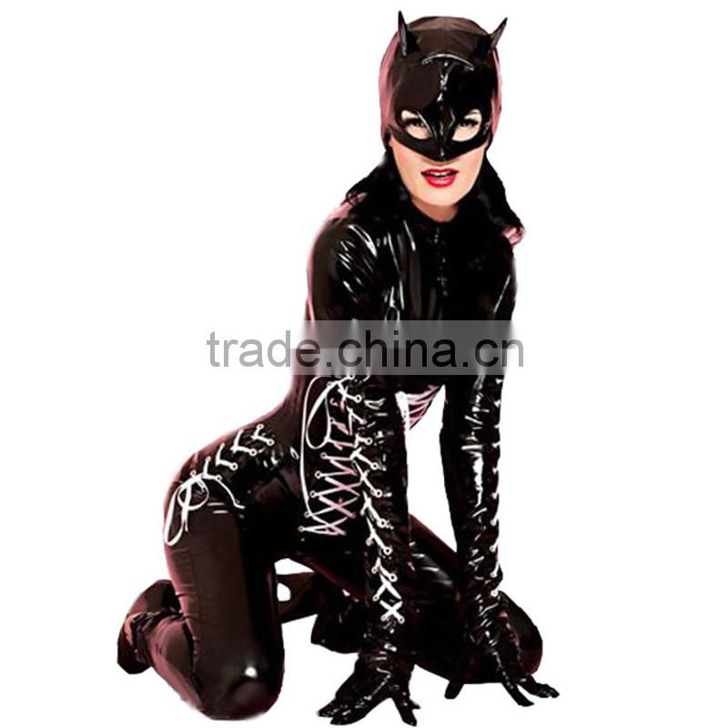 Black cat woman cosplay jumpsuits sexy costumes adult erotic underwear costume Faux Leather Wet Look lingerie women catsuit
