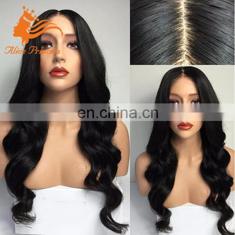 Unprocessed Virgin Human Hair Body Wave Full Lace Wig Middle Part Silk Base Wig For Black Women