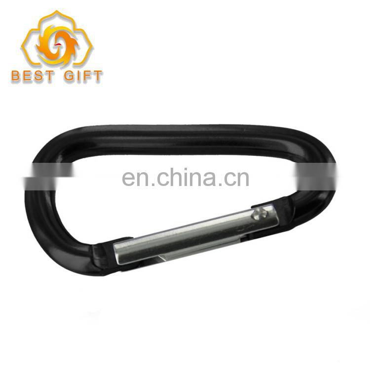 Black D Shape Aluminum Carabiner Key Chain