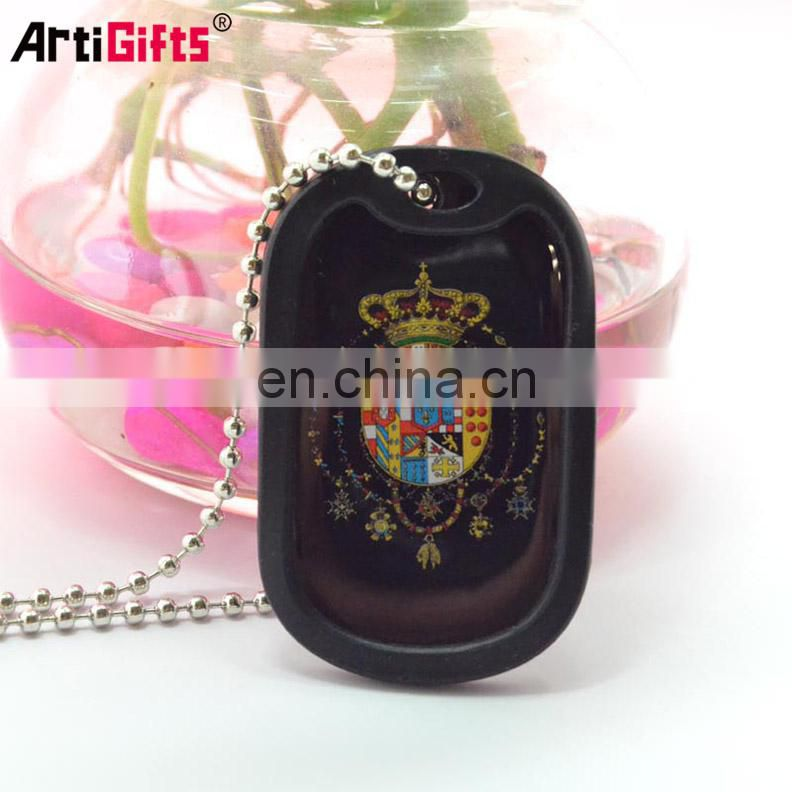 Customised Hot Sale Fashion Engraving Blank Black Id Dog Tag Necklace Pendant