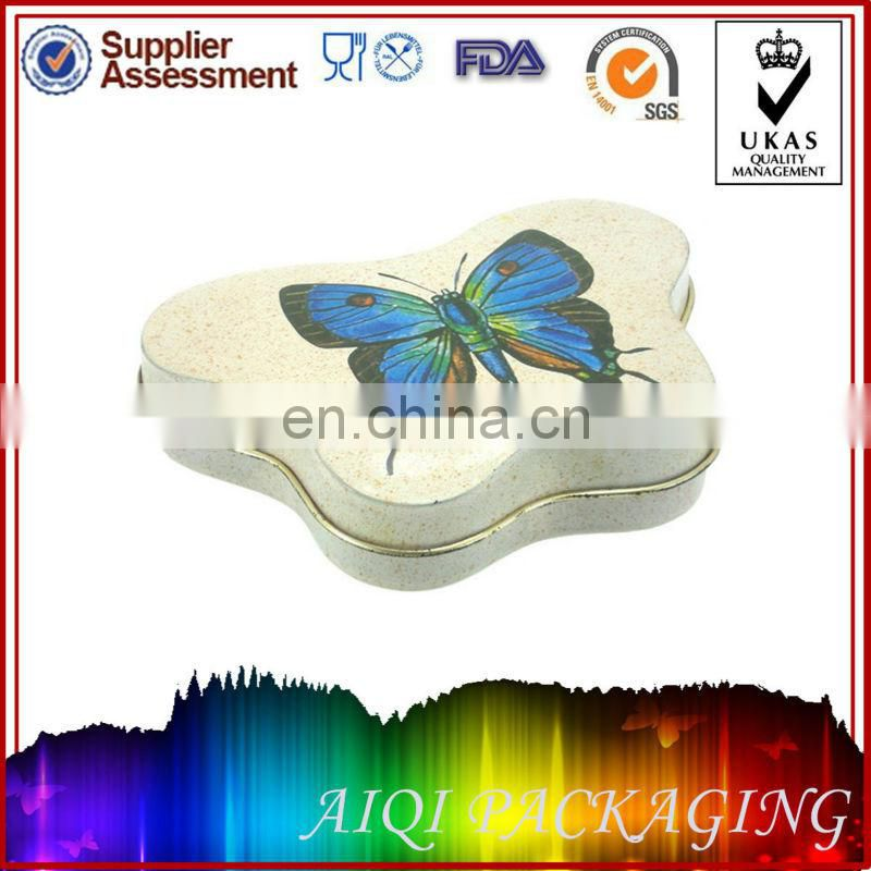 top quality irregular butterfly shaped gift tin box