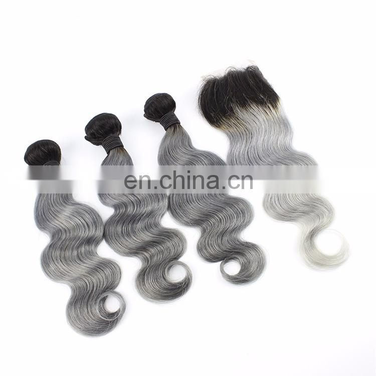 8A Grade Brazilian Lace Frontal Closures with Weave Ombre 1BTGrey Body Wave Virgin Human Hair Bundles With Lace Closure Onsale