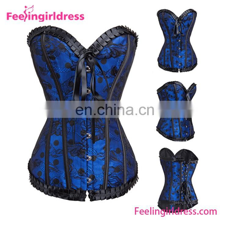 Vintage Prited Overbust Plastic Steel Boned Lace Bustier Top