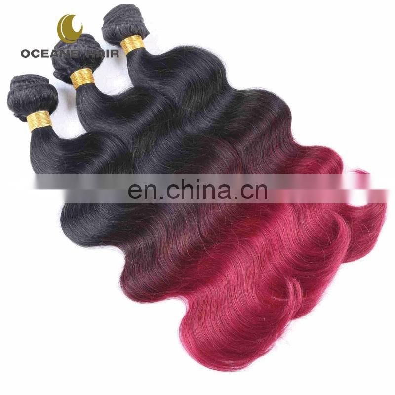 Top grade in stock grade 8a brazilian ombre weave colors hair