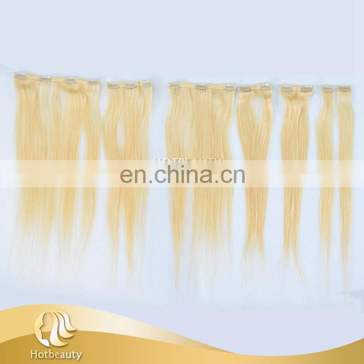 clip long hair extension silky straight and tangle free 613# blonde Russian hair