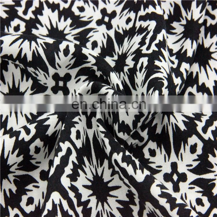 Black and white image dyed textile rayon fabric