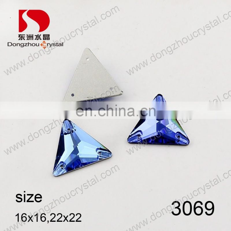Triangle shaped flat back crystal sew on beads for clothes