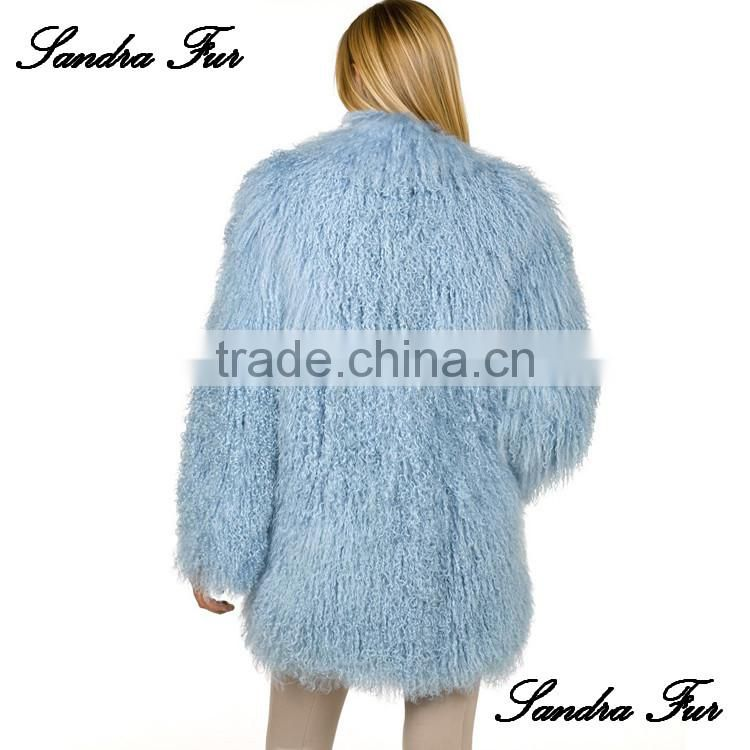 SJ001-01 Star Fashion Design Mongolian Lamb Fur Coat Genuine Women Popular Mongolian Sheep Fur Coat
