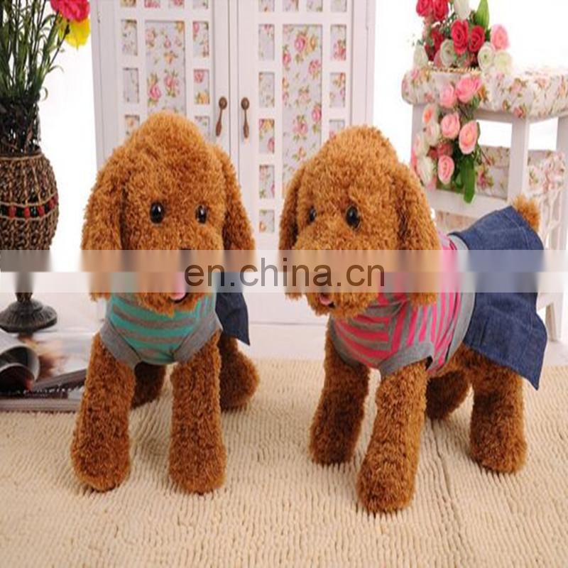 realistic dog plush toy wear T-Shirt . pet dog posed in a realistic stance. custom design printed logo cartoon stueffed toy