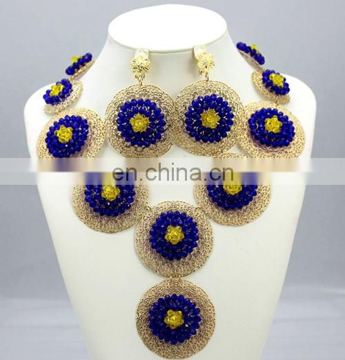 Handmade jewelry set for ladygold plated bead necklace for weddingNigeria party necklace set
