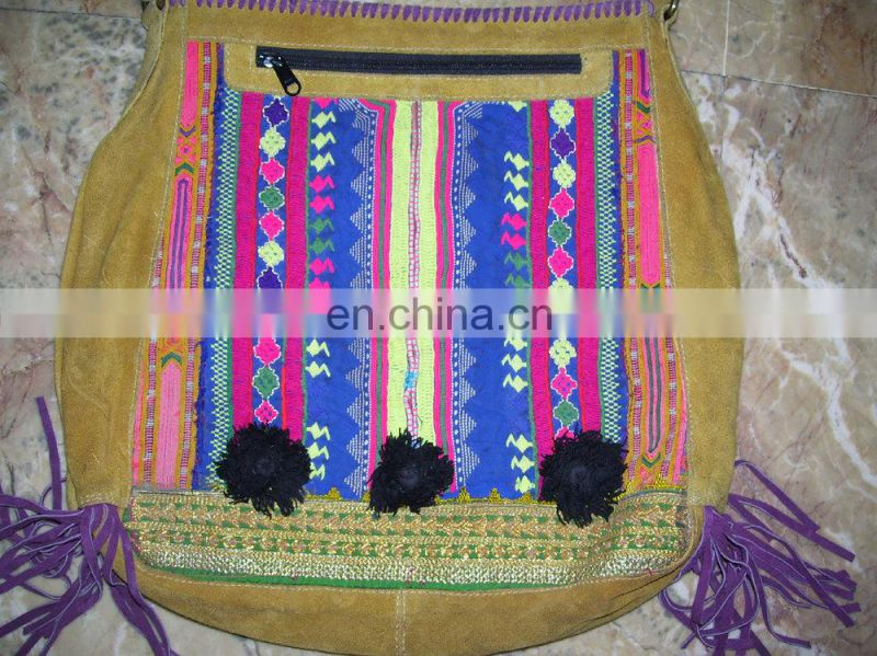 SUEDE FABRIC BANJARA INDIAN SHOULDER BAGS