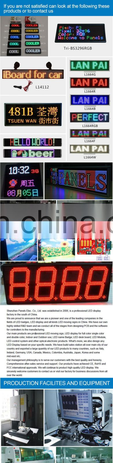 Whole sale 14*56 pixel programmable car led display