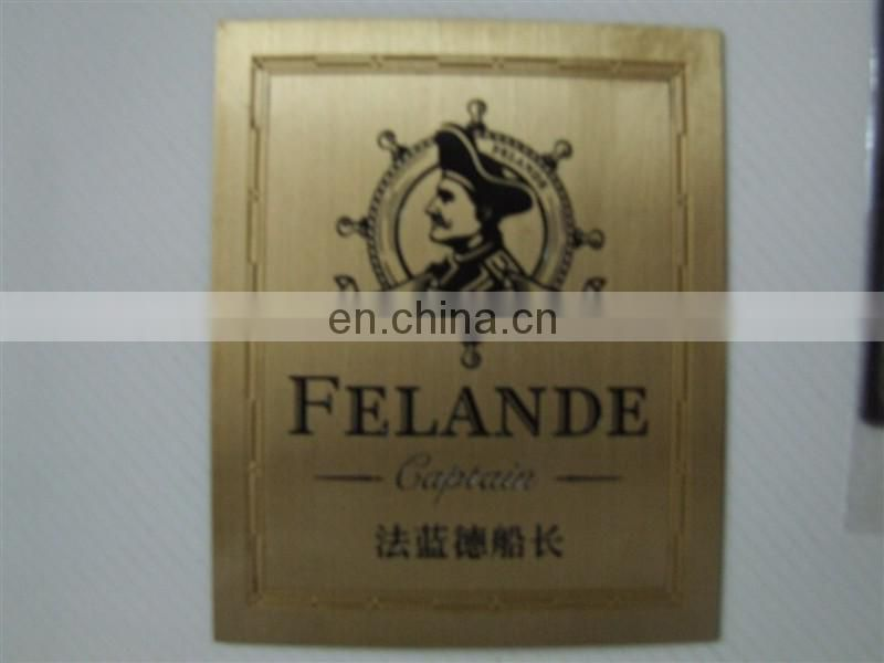 custome etch out metal plate brand logo metal tag VIP metal plate