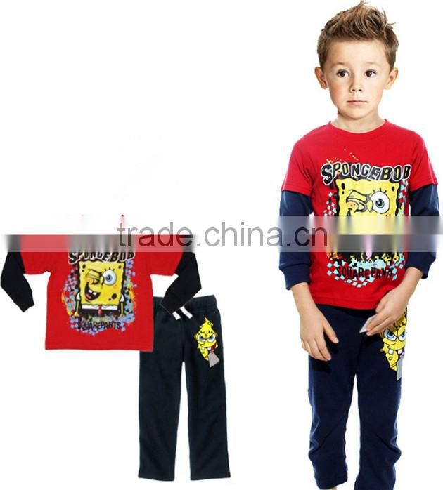 2014 Long Sleeve Cool Boy Pajamas Cotton Children Sleepwear