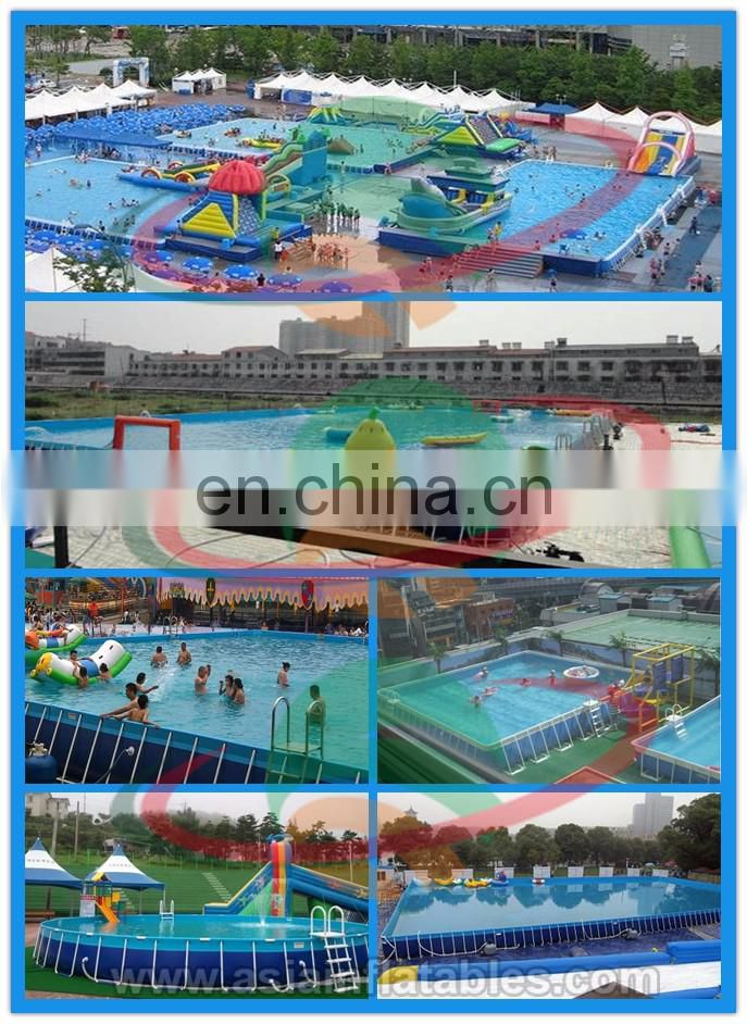 Inflatable square swimming pool equipment for adult / rectangle metal frame swimming pool for backyard