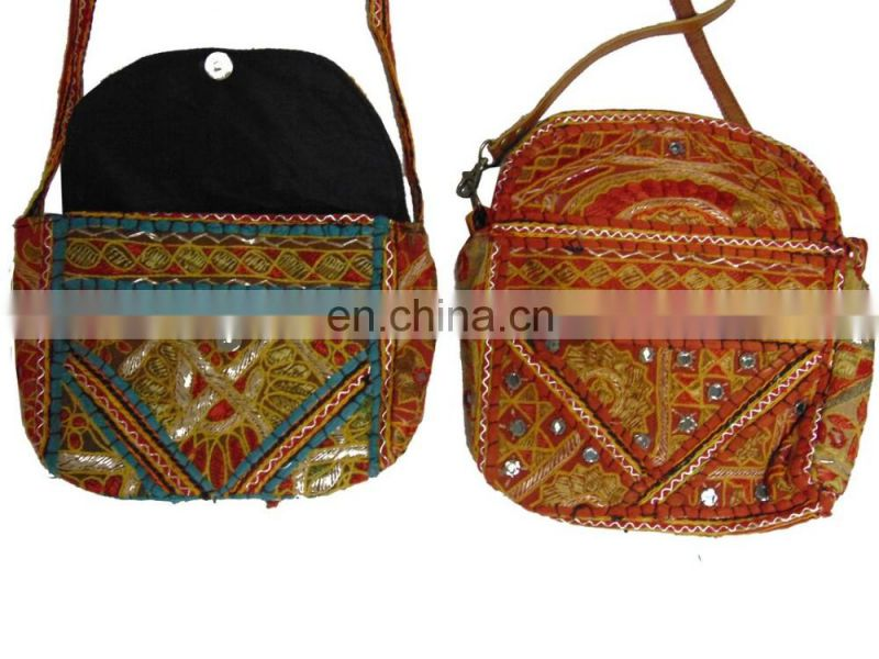 Thread embroidered clutch bag