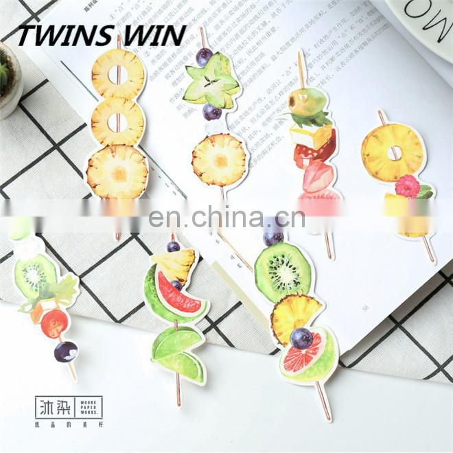 Hot sale popular creative school stationery supplies promotional free sample cartoon paper different fruit shaped bookmark clips