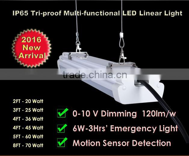 IP65 Tri-proof (Waterproof,Insect Prevention,Anti-corrosion) Sensor Emergency Led Tube Light