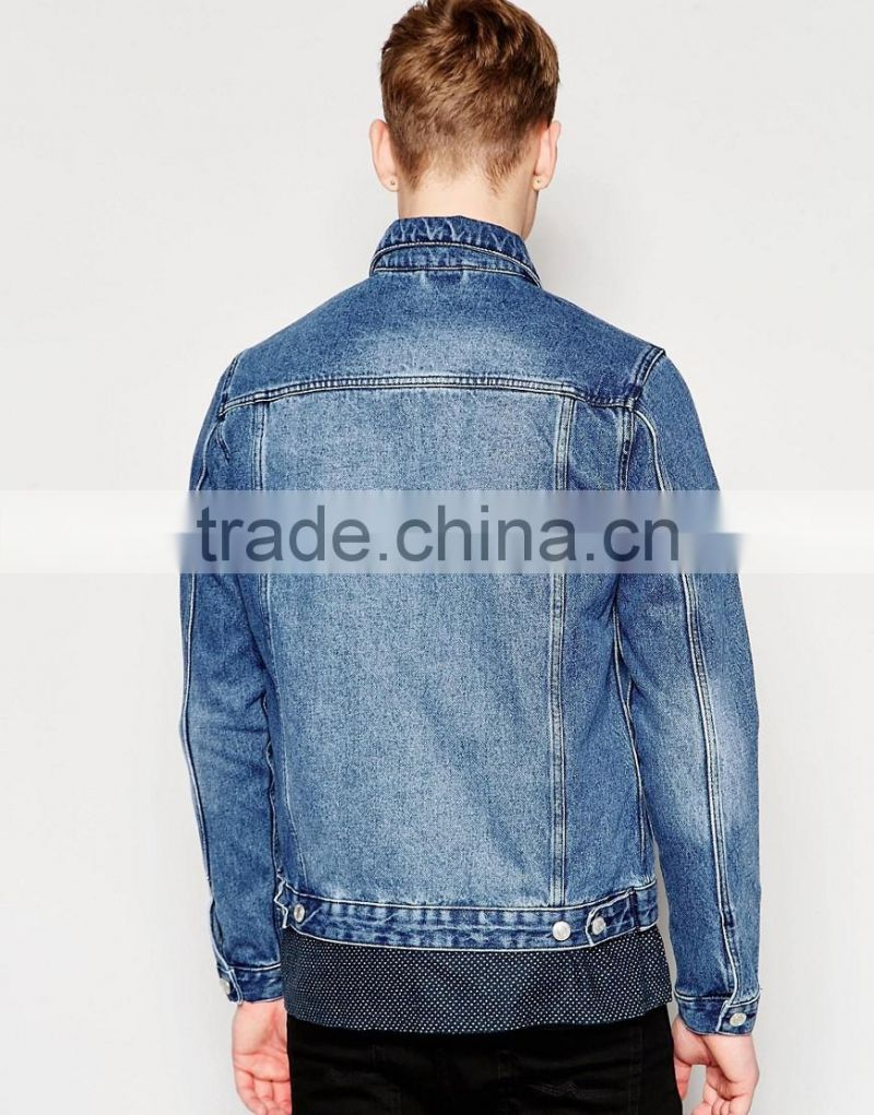 Wholesale Custom Denim Jacket Men In Washed Blue Made In China