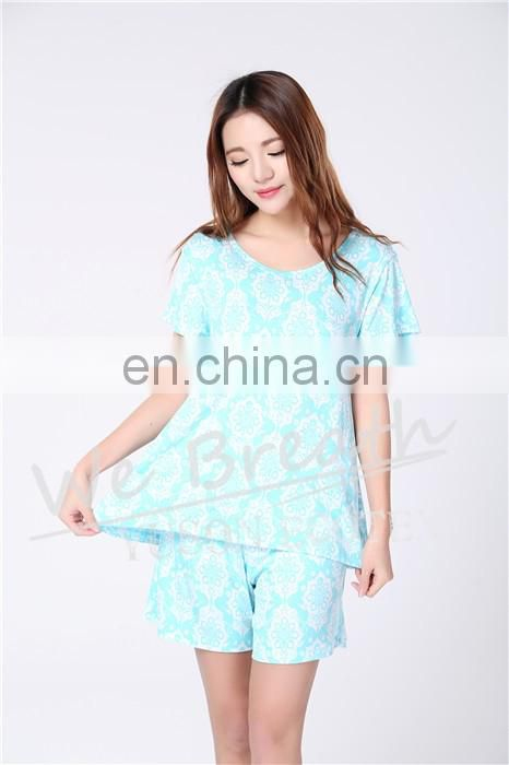 Printing Pattern Ladies Bamboo Fiber Short Sleeves Shorts For Summer