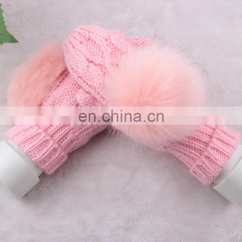 Knitted weaving gilrs mittens with big rabbit fur pom pom