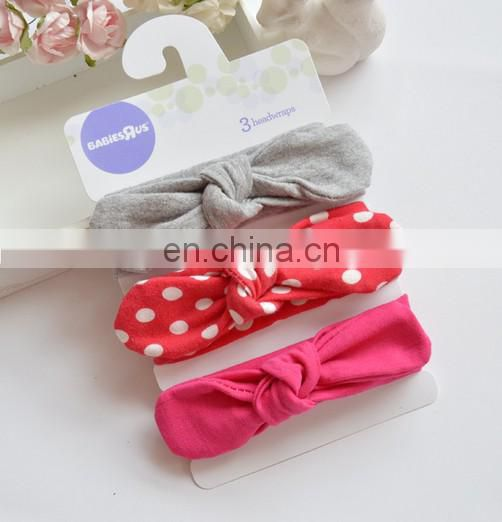 Set Of 3 Knotted Headband Soft Cotton Bows Headband Elastic Baby Turban Toddler Topknot
