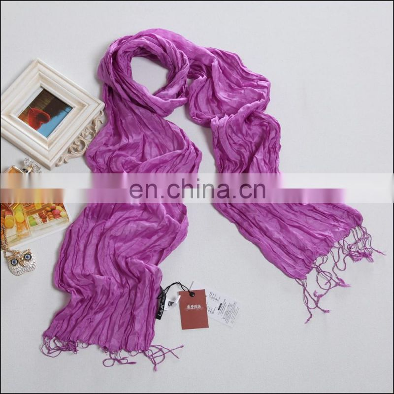 Dark brown silk paj crinkle scarf for girls