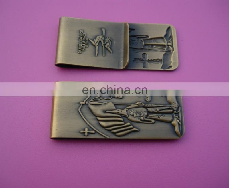 custom personalized silver plated maney clip/soft enamel your own logo pocket cash clip