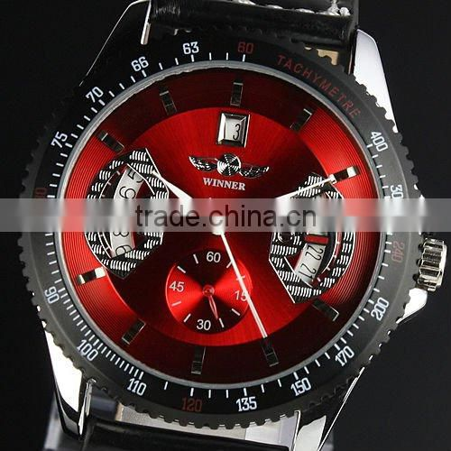 New Mens Red Dial Leather Strap Classic Design Self-Wind Up Mechanical Automatic Watch