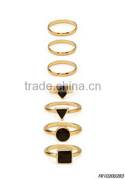 black gold geometric rings