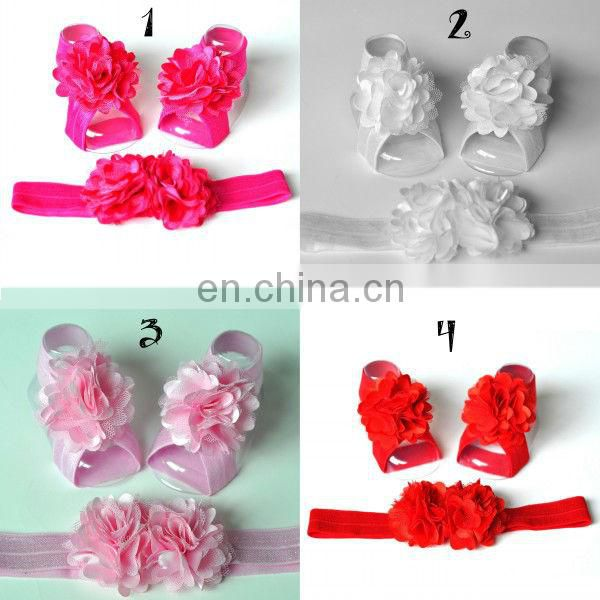Baby Barefoot Sandals with wide Elastic Macthing headbands