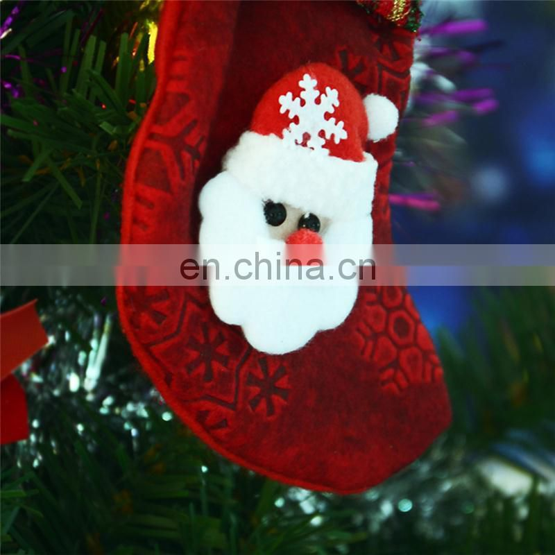 8CM*17CM Medium Non-woven Cloth Snowflakes Printing Bright Color Stripe Decoration Christmas Stockings - Santa Claus