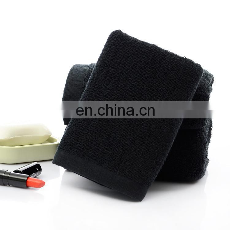 Wholesale luxury quick dry black cotton face towel