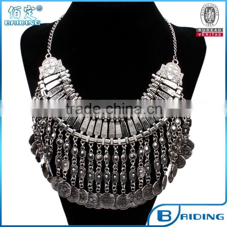 Turkish Style Turqoise Metal Tassel Silver Plated Coin Layered Necklace Costume Jewelry