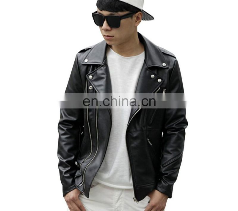 Washed Men's Faux Leather Long sleeve imitation Leather Jacket cycly stylish with Metal Zipper