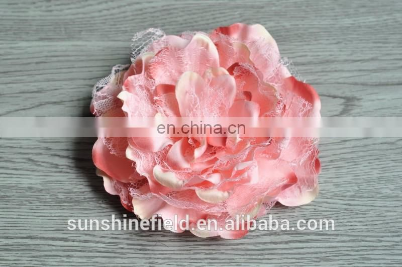 "5.5"" Large Laced Peony Flowers for Headband /Hairband Silk Peony Flowers FLat Back"