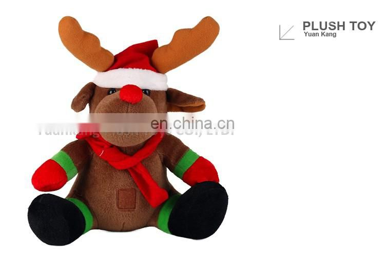 Custom Stuffed Gift Doll Plush Big Christmas Deer With Hat and Scarf