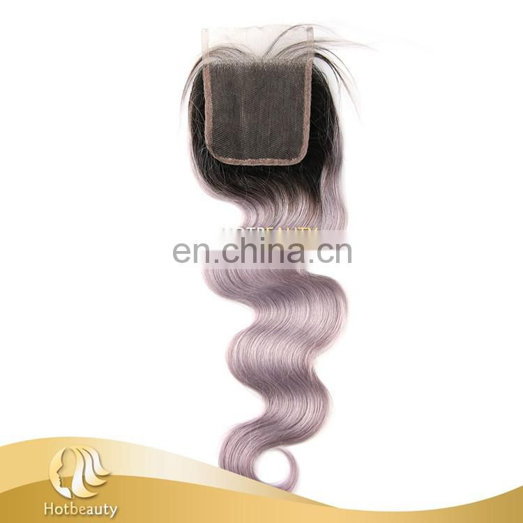 Fashion free part grey virgin hair bundles with lace closure body wave