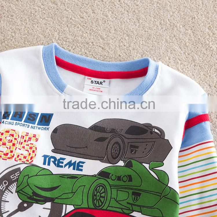 2-6Y (L85515#Red and white)Baby Boy Clothing Hot Car boys t shirt Kids t shirt long sleeve t-shirts for children